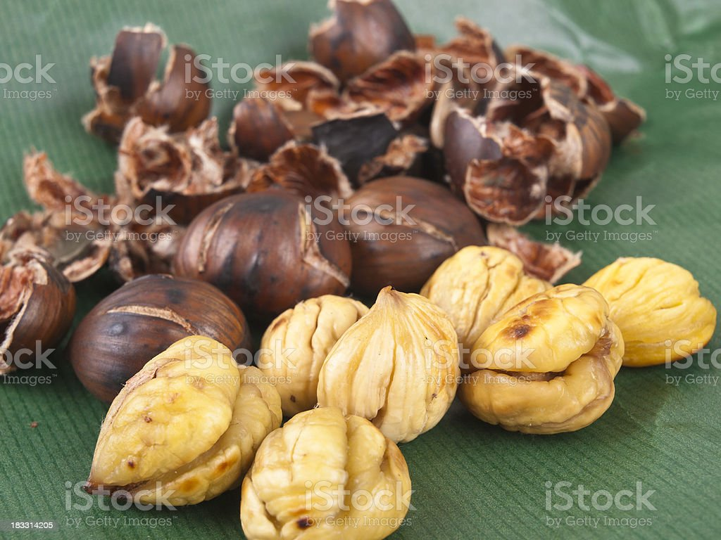 Roasted colorful chestnut royalty-free stock photo