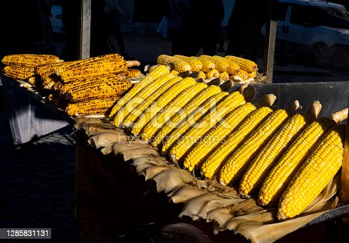 Fresh  roasted corn is famous street food of Istanbul, Turkey