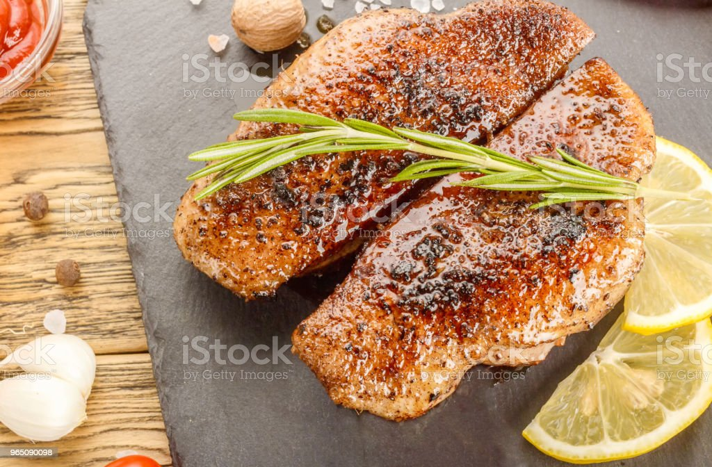 Roasted duck breast, dietary organic poultry meat. Ready meal for the restaurant menu. zbiór zdjęć royalty-free