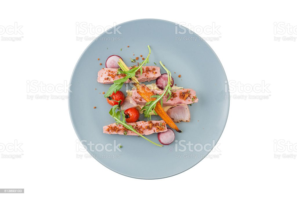 Roasted duck breast in modern style stock photo
