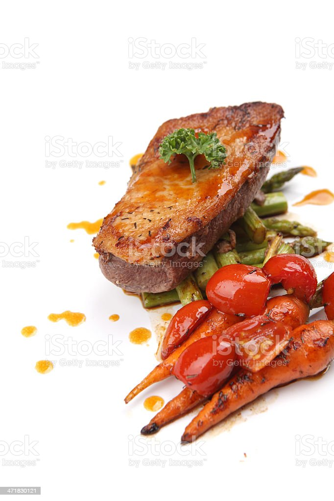 Roasted duck fillet with berry sauce royalty-free stock photo