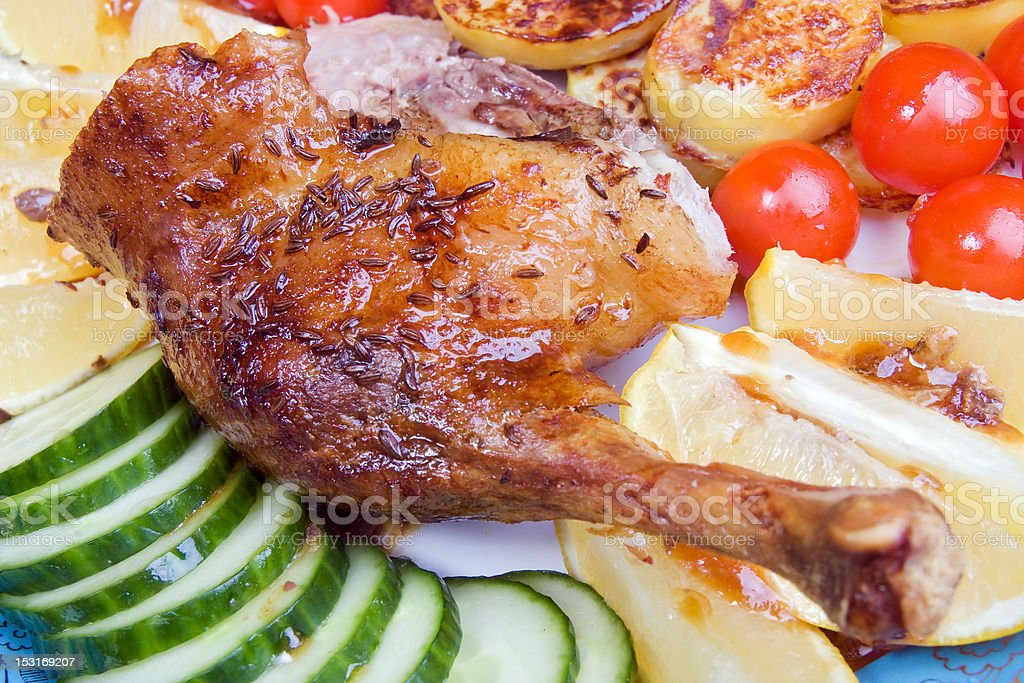 Roasted duck leg royalty-free stock photo