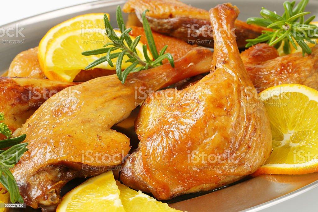 Roasted duck legs stock photo