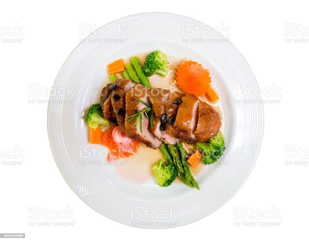 roasted duck with coffee seeds stock photo