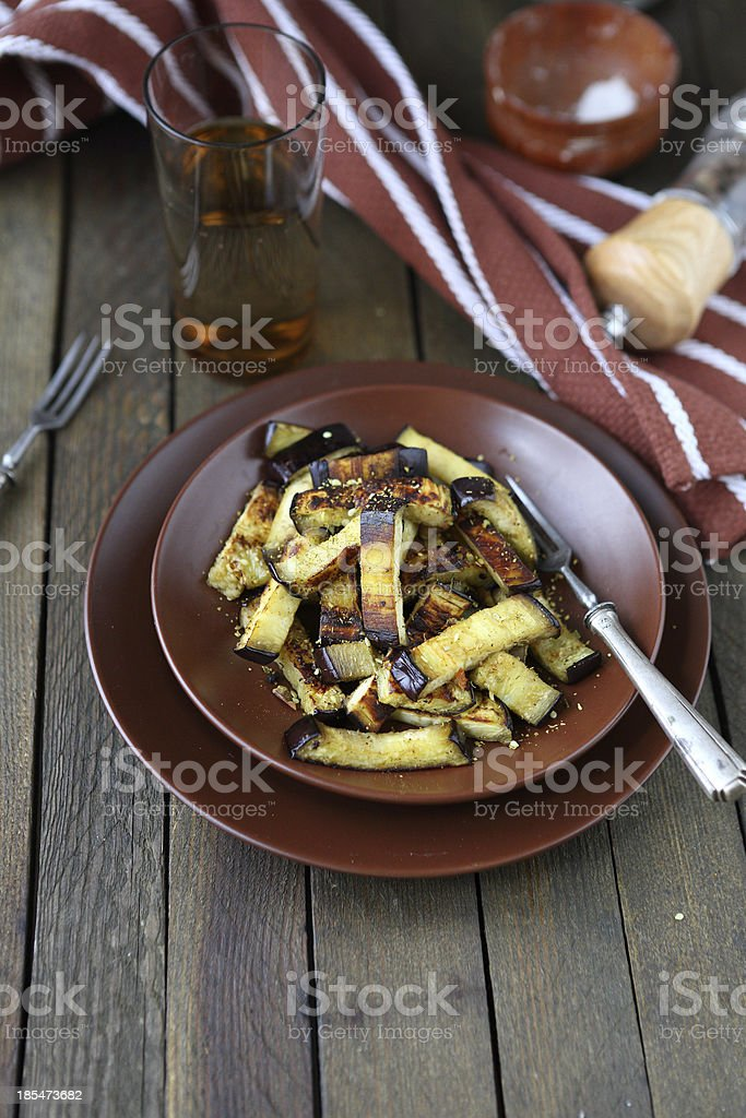 roasted eggplant with spices in a bowl royalty-free stock photo
