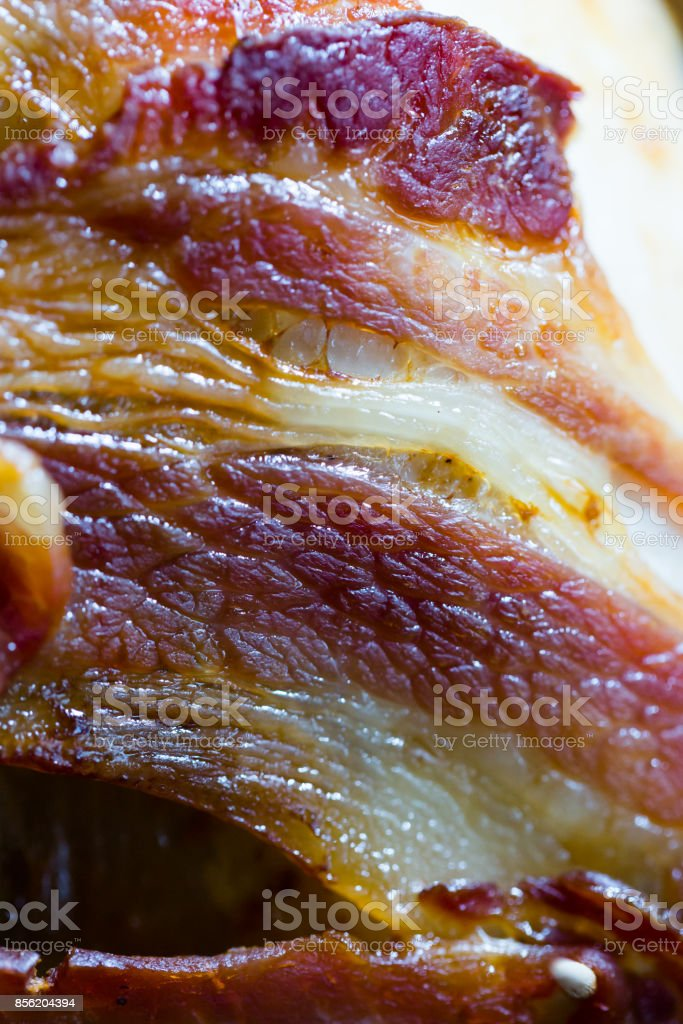 Roasted for Thanksgiving or Christmas turkey wrapped with crispy juicy bacon stock photo