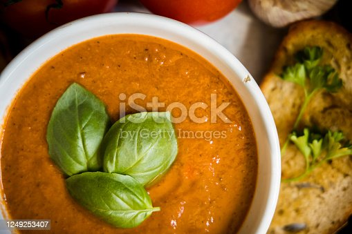 Tomato soup with garlic toast.