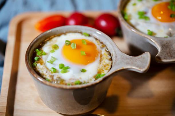 roasted gravy rice with egg stock photo