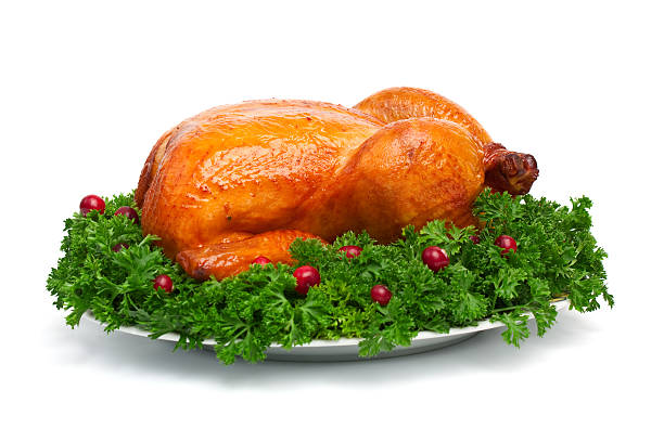 roasted holiday turkey stock photo