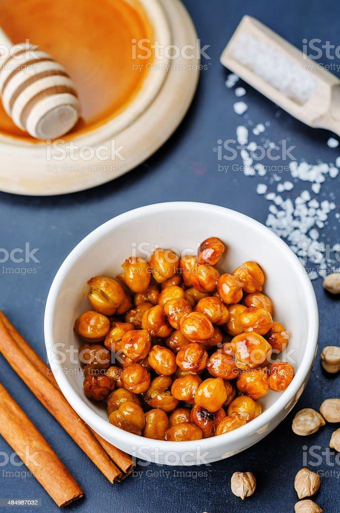 roasted honey cinnamon chickpeas stock photo