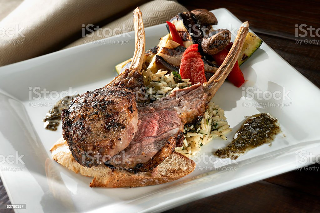 Roasted lamb Chops with grilled vegetables stock photo