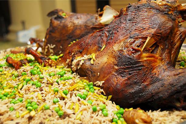 roasted lamb ouzi stock photo
