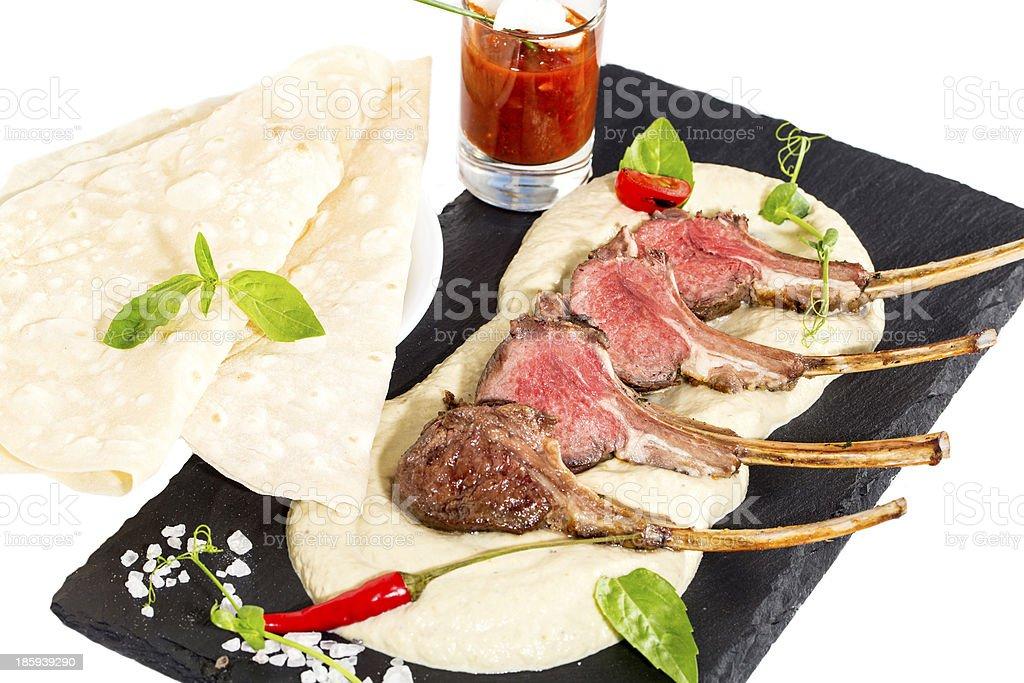roasted lamb ribs with mashed potatoes royalty-free stock photo