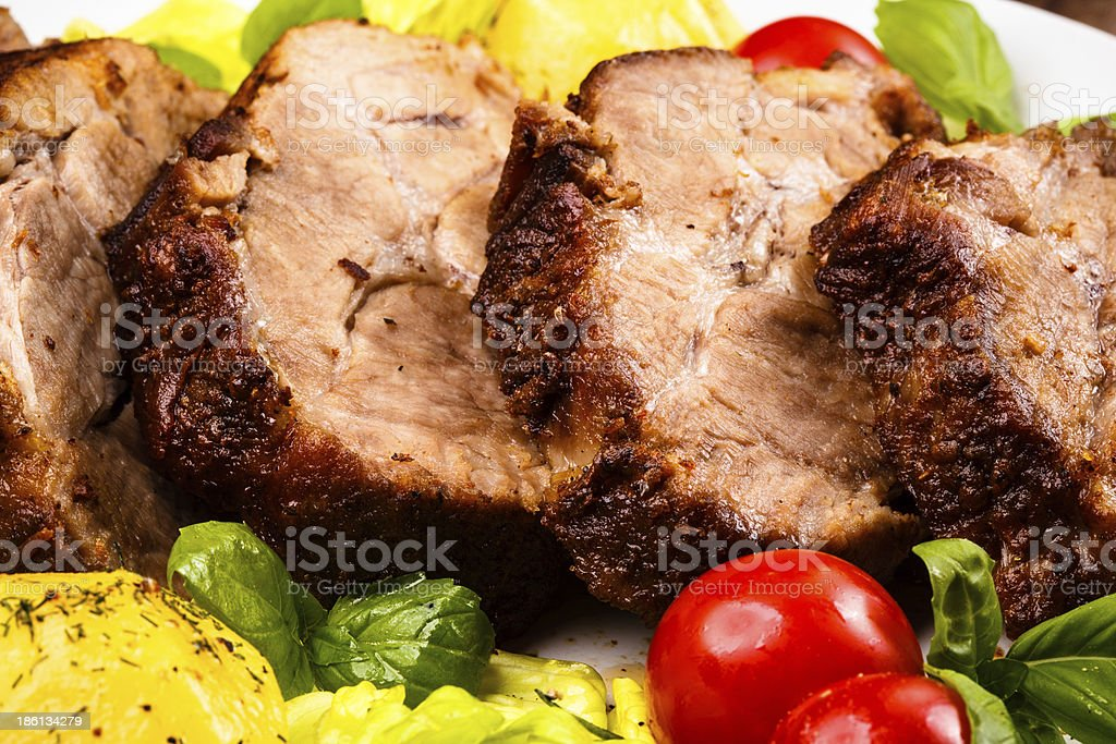 Roasted meat and vegetables royalty-free stock photo