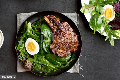 istock Roasted meat steak with green salad 897895312