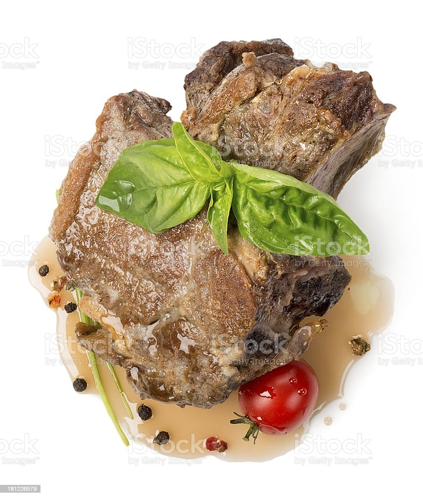 Roasted meat with sauce royalty-free stock photo