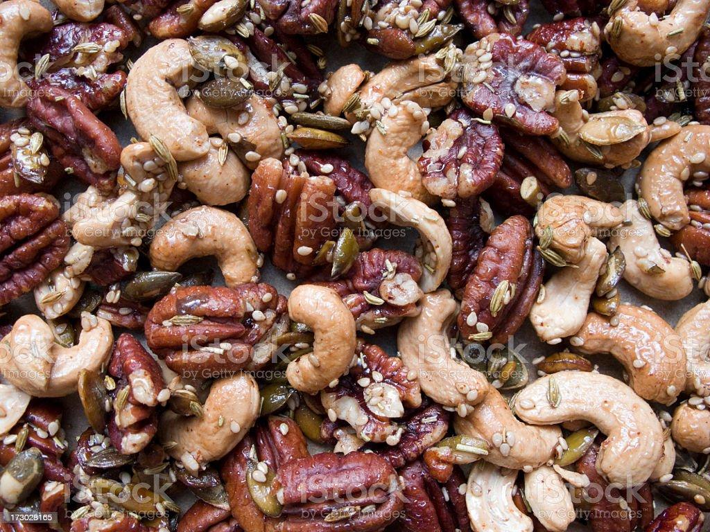 Roasted mixed nuts. stock photo
