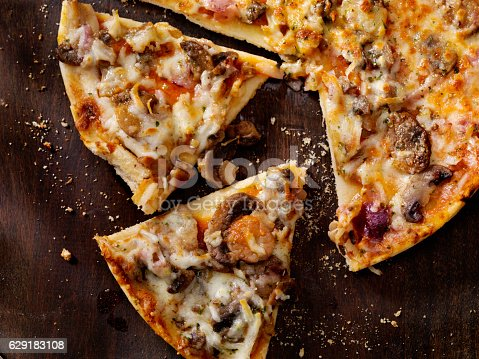 Roasted Mushroom, Garlic and Red Onion Thin Crust Pizza  - Photographed on a Hasselblad H3D11-39 megapixel Camera System