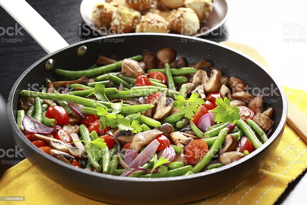 Roasted mushrooms with vegetable royalty-free stock photo