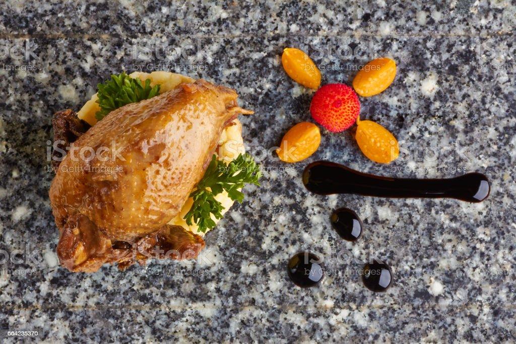 roasted partridge stock photo