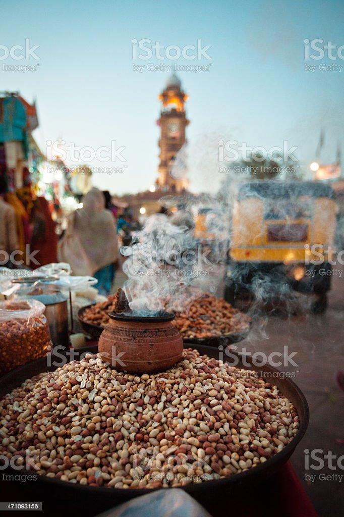 Roasted peanuts at street market in Jodhpur, India stock photo