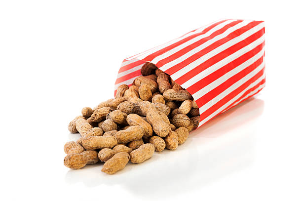Roasted Peanuts in a tall Paper Bag stock photo