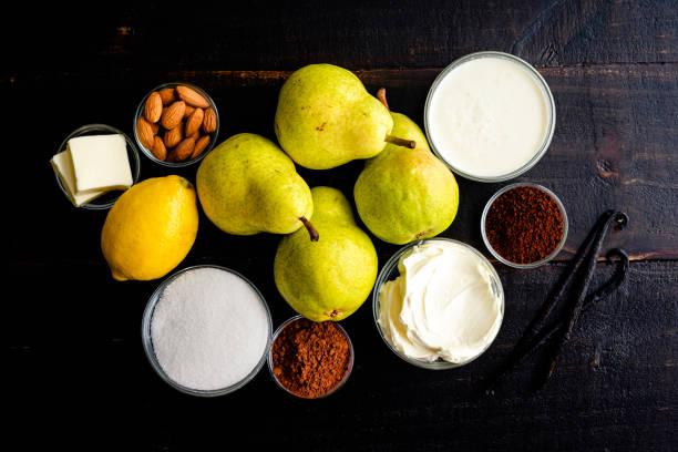 roasted pears with espresso mascarpone cream ingredients - cream of mascarpone hình ảnh sẵn có, bức ảnh & hình ảnh trả phí bản quyền một lần