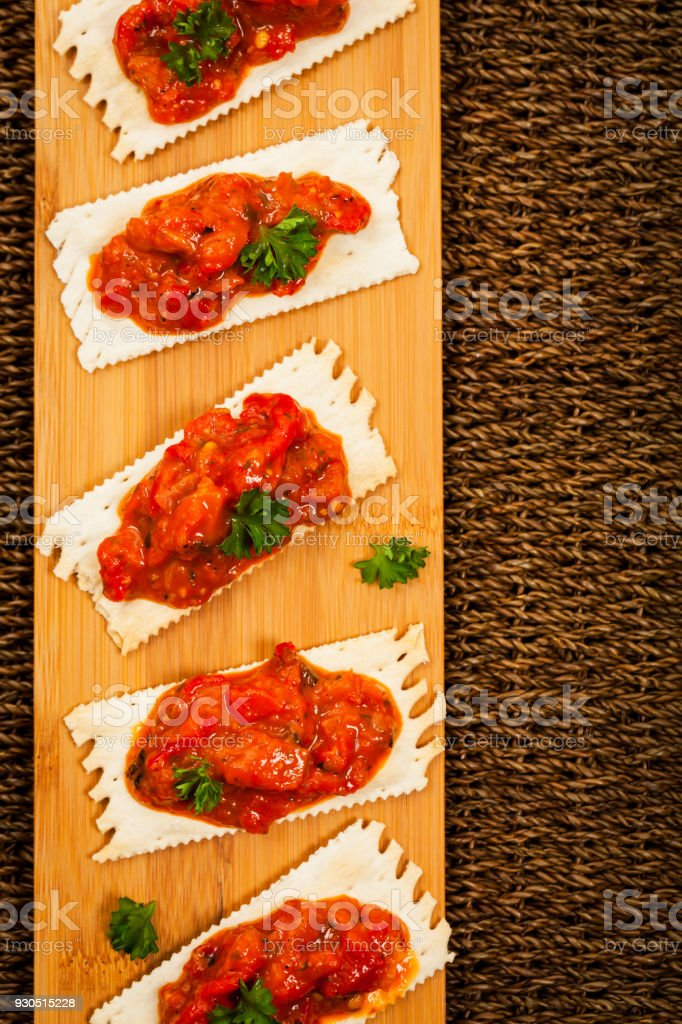 Roasted Pepper Appetizer stock photo