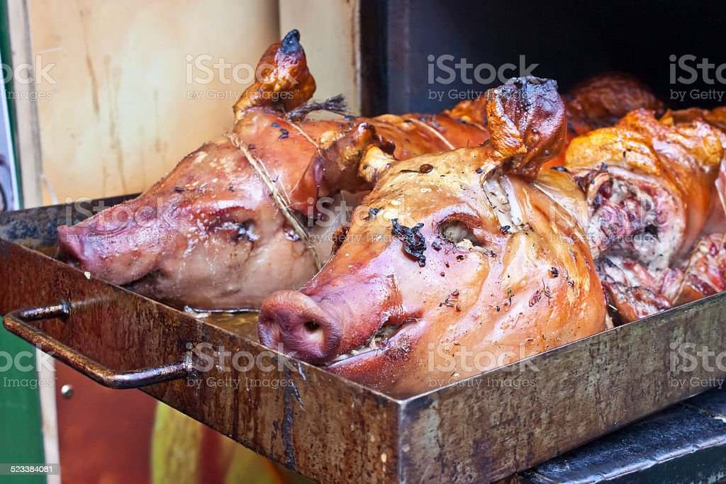 Roasted piggies stock photo