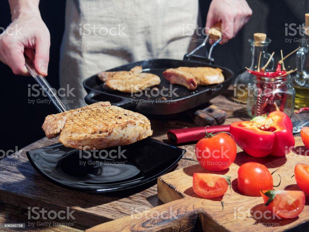Roasted pork chops stock photo