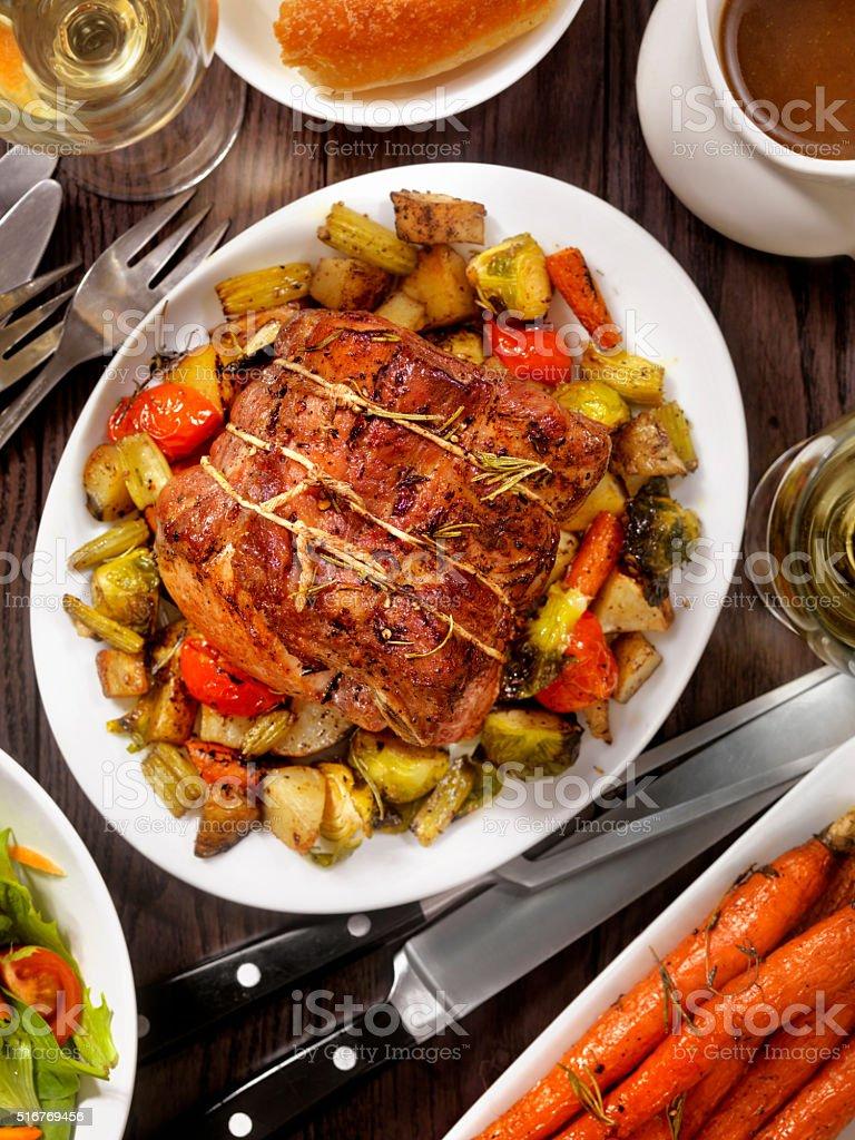 Roasted Pork Loin Roast Dinner stock photo
