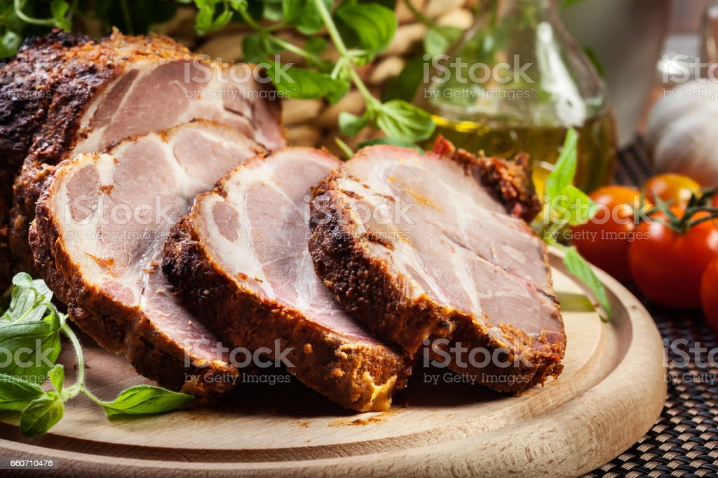 Roasted pork neck with spices stock photo
