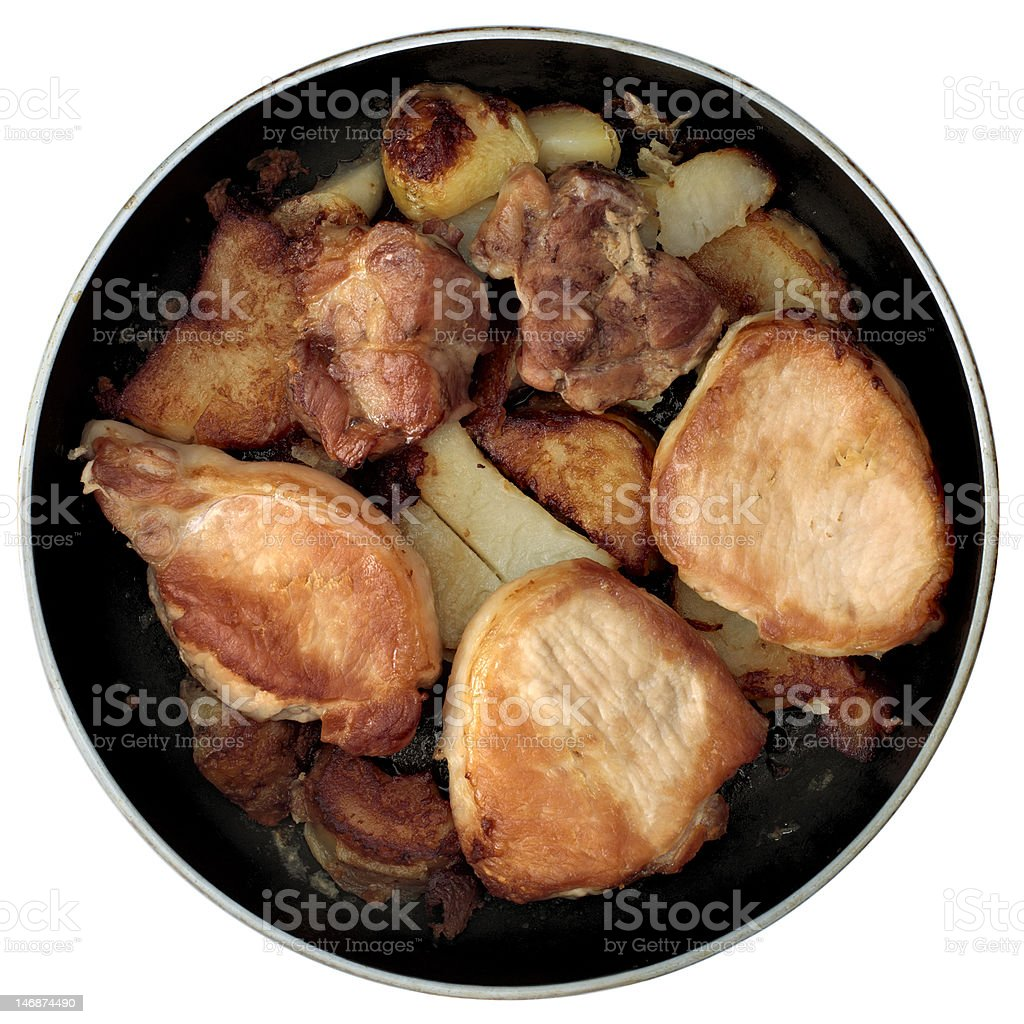 Roasted pork on frying-pan royalty-free stock photo