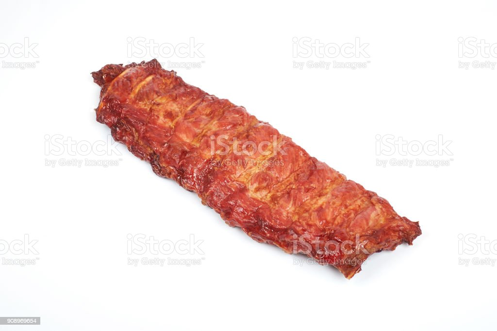 Roasted pork ribs isolated on white background stock photo