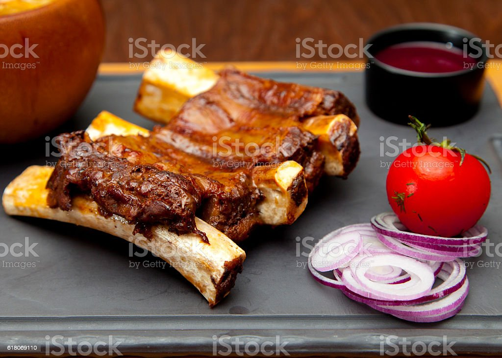 Roasted pork ribs stock photo