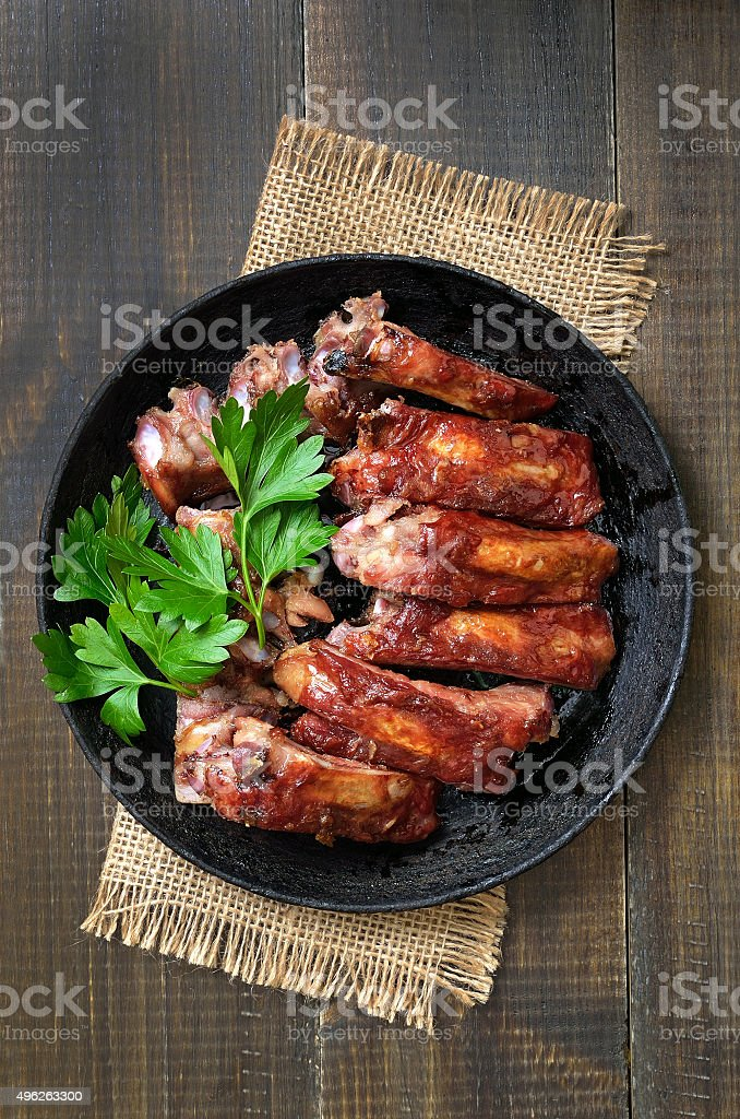 Roasted pork ribs, top view stock photo