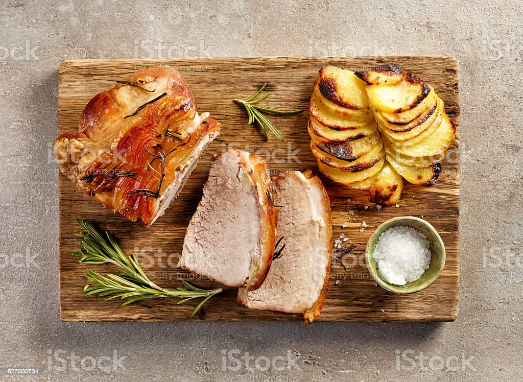 roasted pork slices stock photo