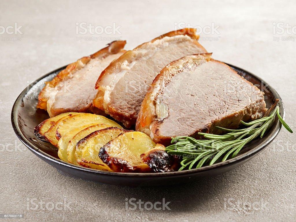 roasted pork slices stock photo