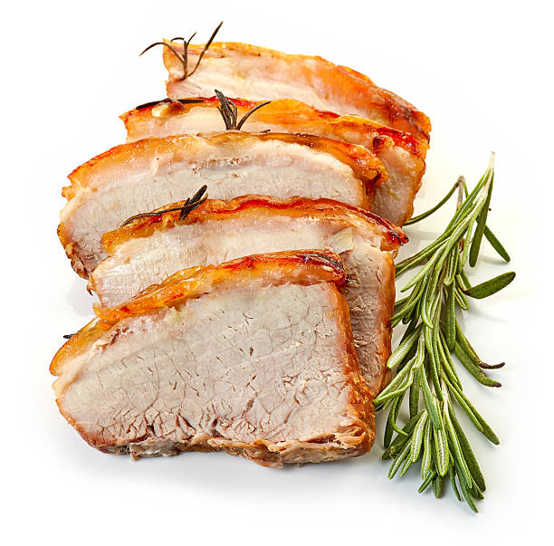 roasted pork slices - loin bildbanksfoton och bilder