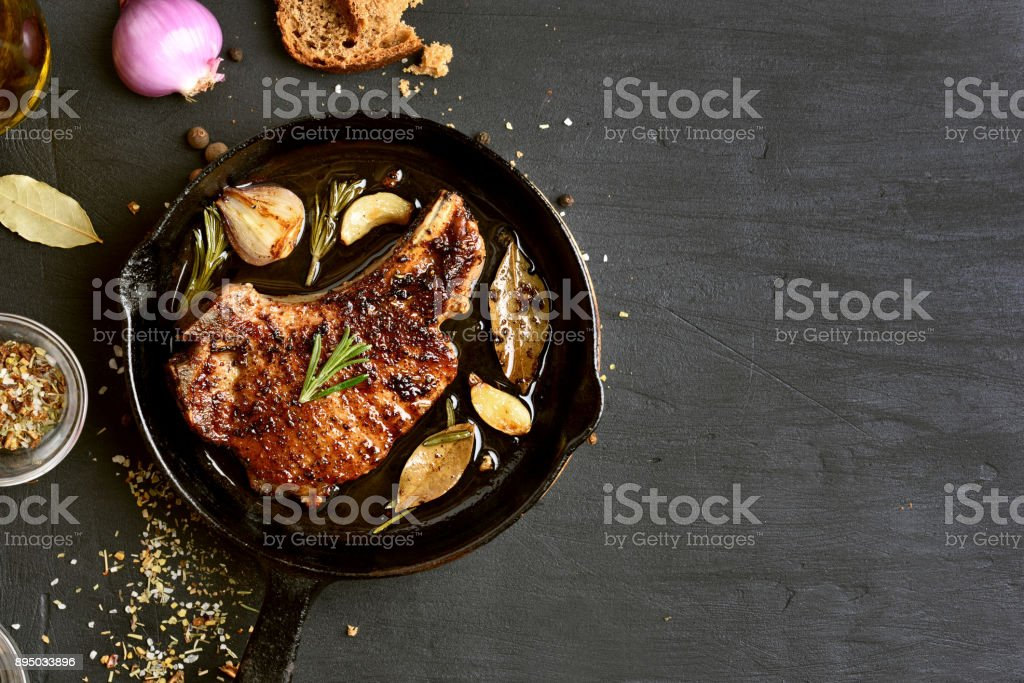 Roasted pork steak stock photo