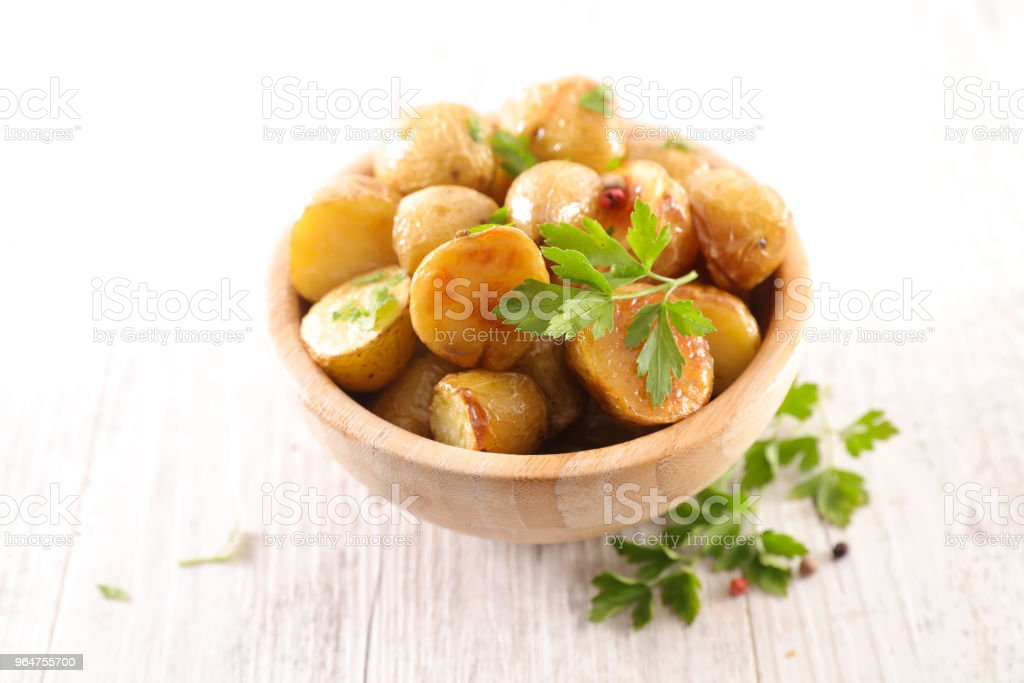 roasted potato and herbs royalty-free stock photo