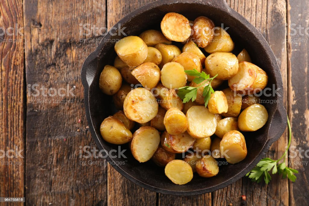 roasted potato and herbs royalty-free stock photo