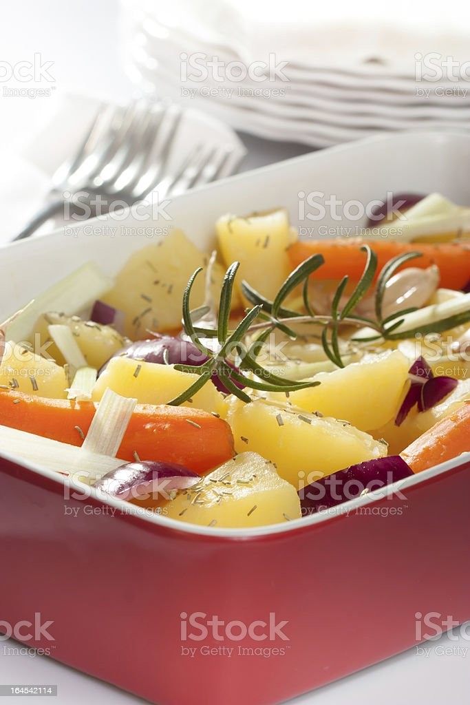 roasted potato with herbs royalty-free stock photo