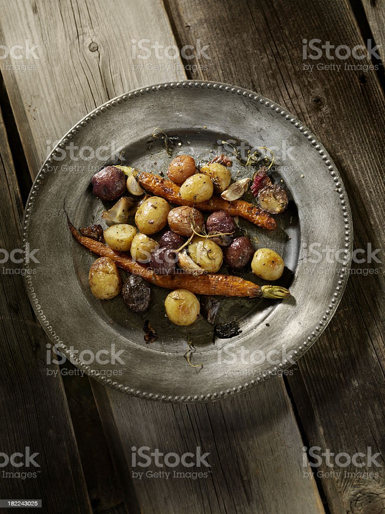 Roasted Potatoes and Carrots royalty-free stock photo