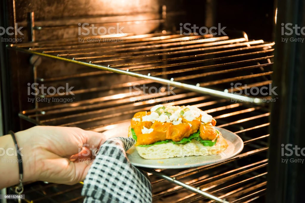Roasted Pumpkin,Spinach and  Feta Cheese Cooking - Royalty-free Antipasto Stock Photo