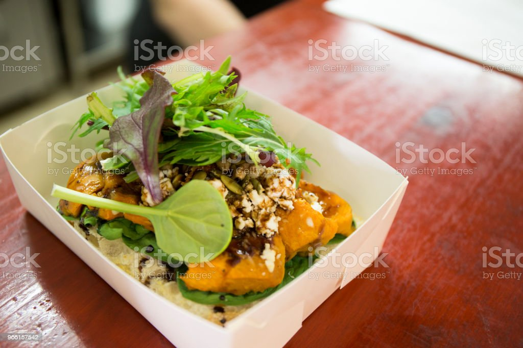 Roasted Pumpkin,Spinach and  Feta Cheese in the box - Royalty-free Antipasto Stock Photo
