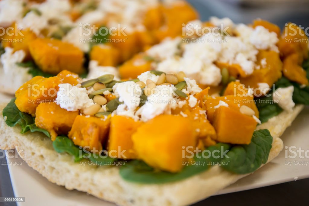 Roasted Pumpkin,Spinach and  Feta Cheese Sandwich stock photo