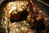 Slowly roasted rack of lamb with rosemary and garlic