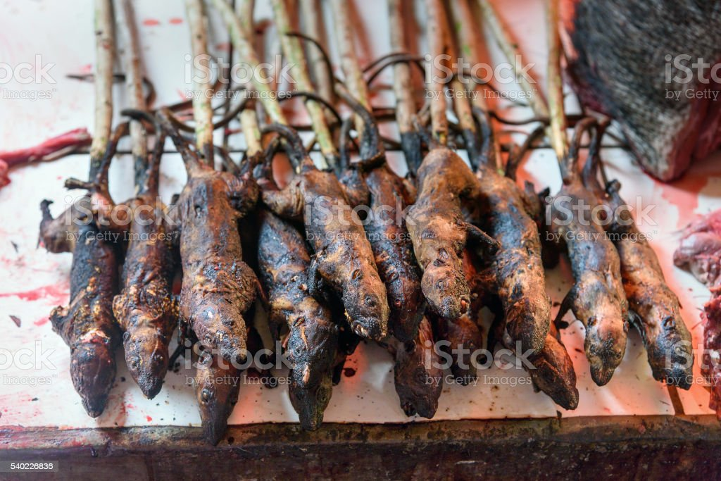 Roasted rats on Tomohon Traditional Market stock photo