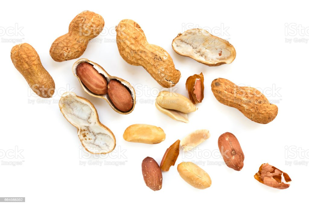 Roasted Raw Peanuts in Shell Top View isolated stock photo